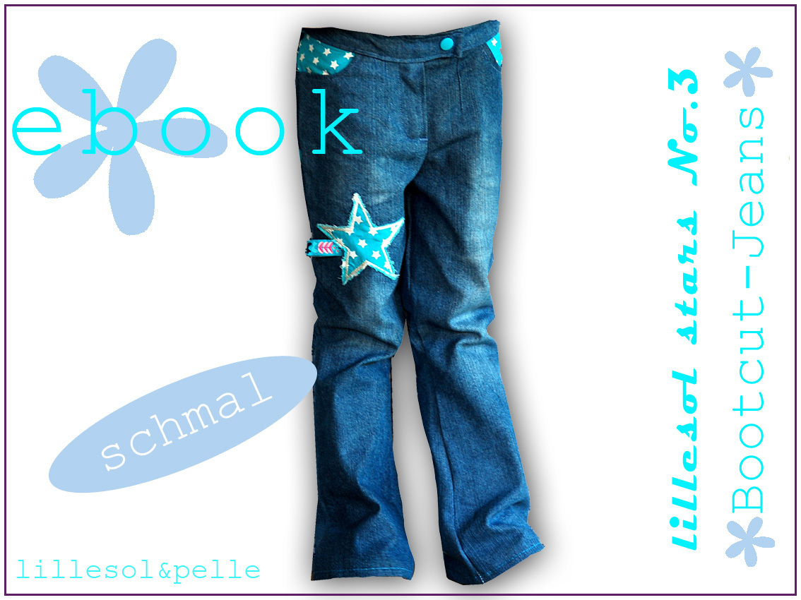 Ebook / Schnittmuster lillesol stars No.3 Bootcut-Jeans *schmal*