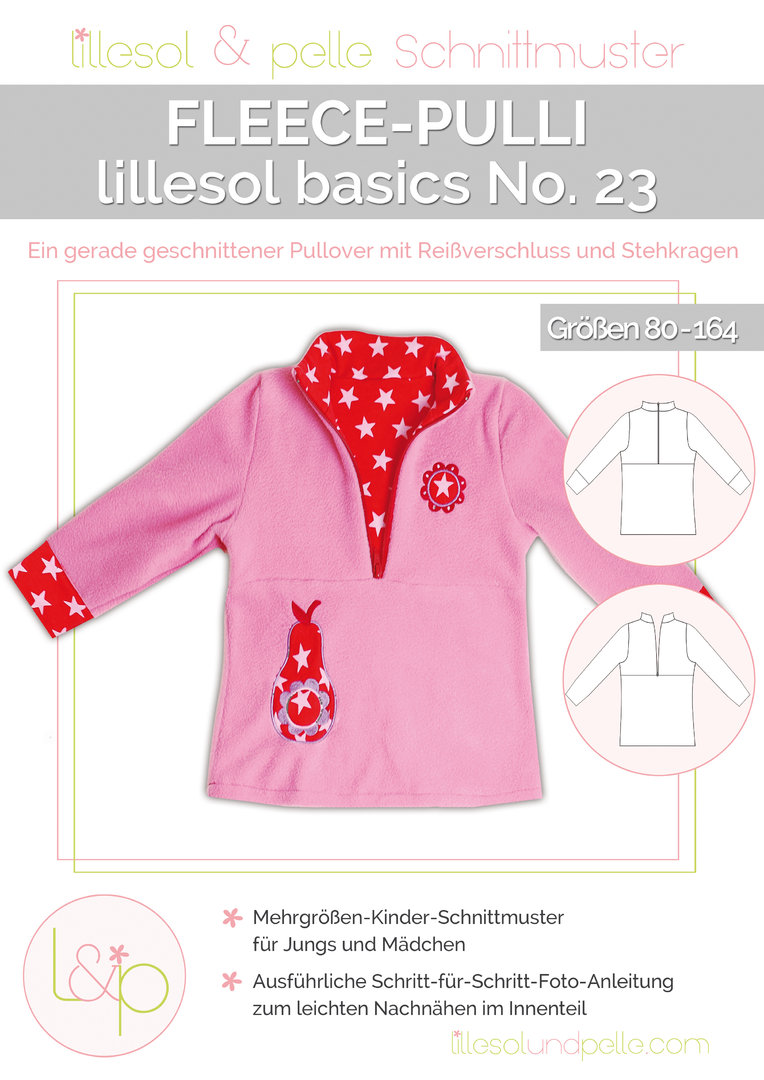 Papierschnittmuster lillesol basics No.23 Fleece-Pulli