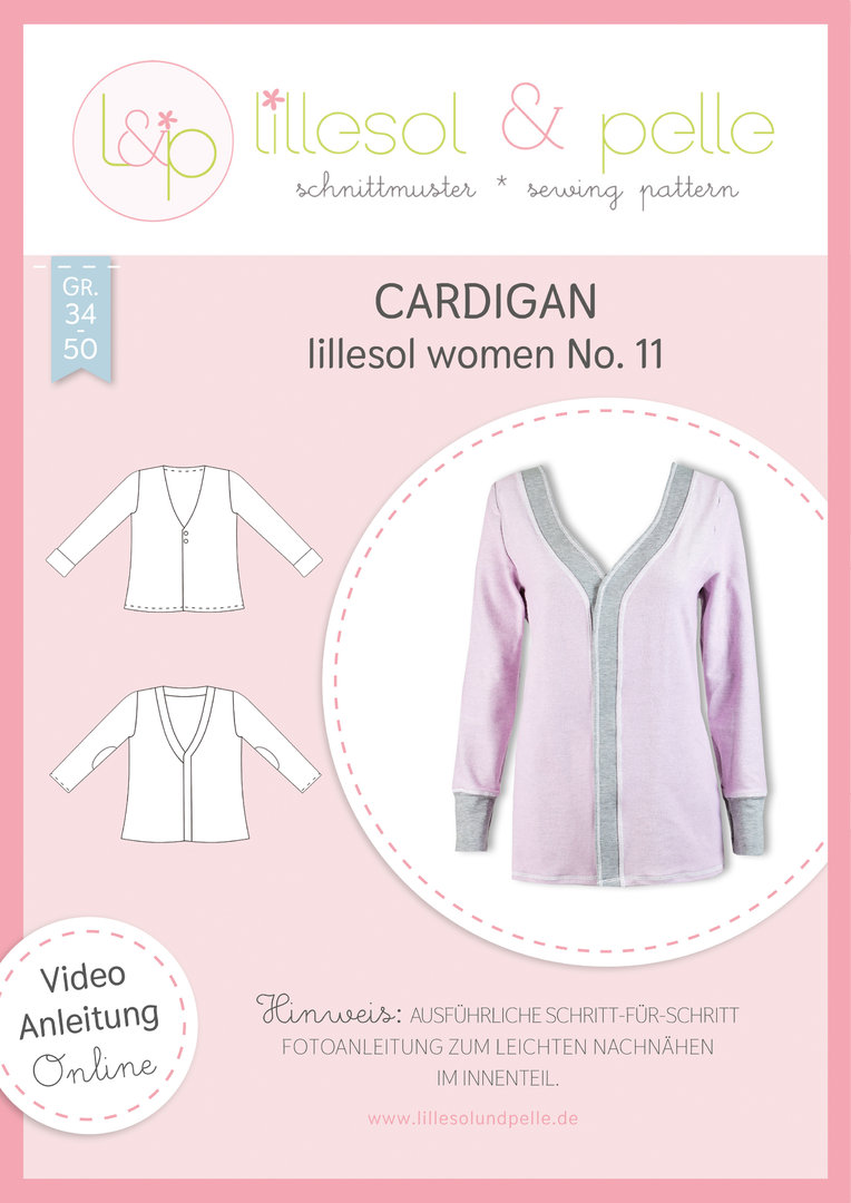 Papierschnittmuster lillesol women No.11 Cardigan *mit Video-Nähanleitung*