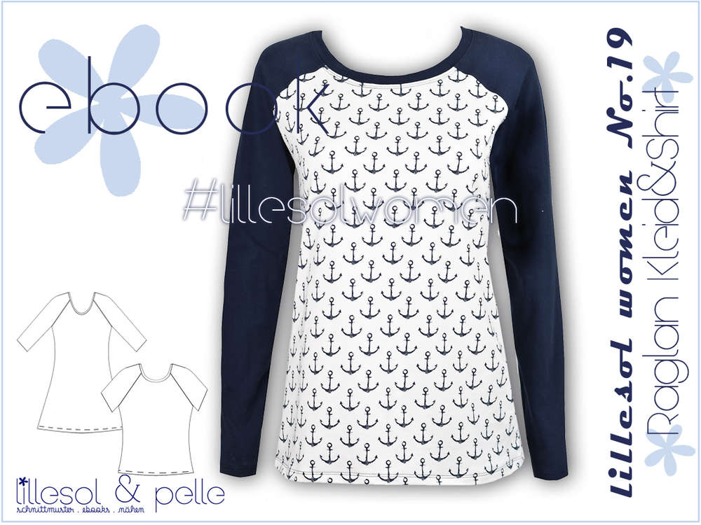 Ebook / Schnittmuster lillesol women No.19 Raglan-Kleid & Shirt ...