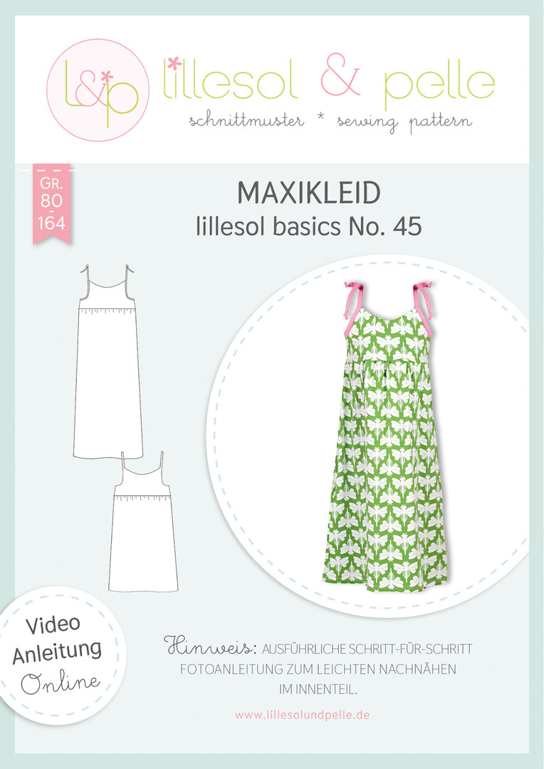 Papierschnittmuster lillesol basics No.45 Maxikleid *mit Video-Nähanleitung*
