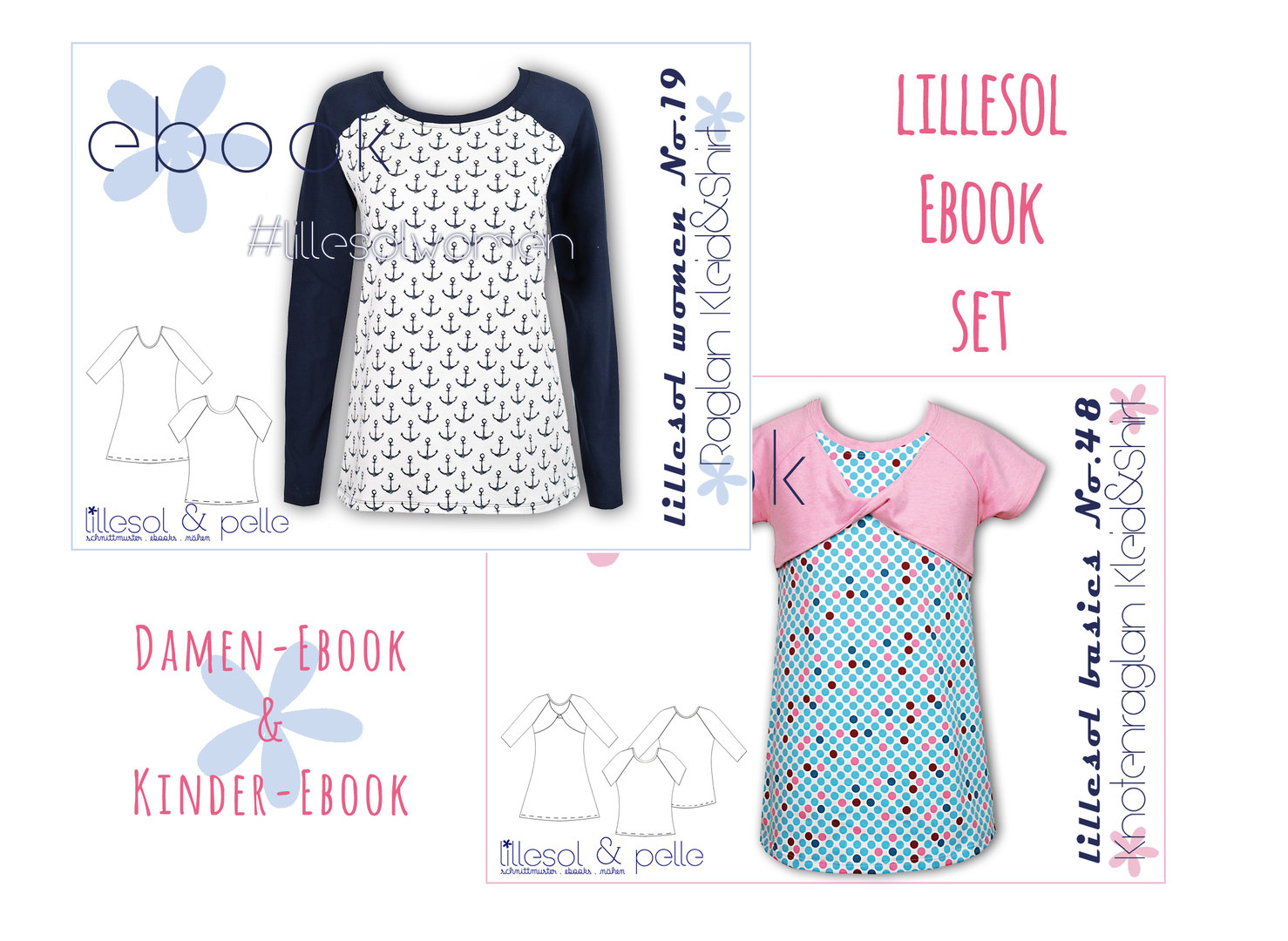 lillesol ebook set basics No.48 und women No.19 *mit Video-Nähanleitung*  * mit Video-Nähanleitung *