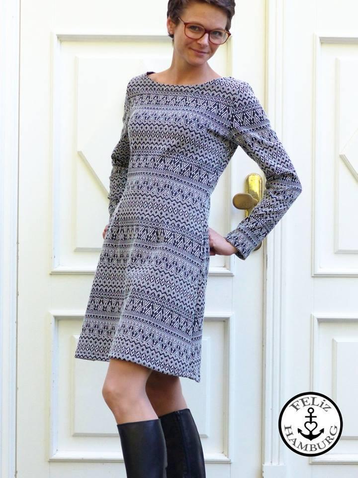 premium selection 49cc6 7d130 Ebook / Schnittmuster lillesol women No.22 Jerseykleid mit Uboot-Ausschnitt  *mit Video-Nähanleitung*