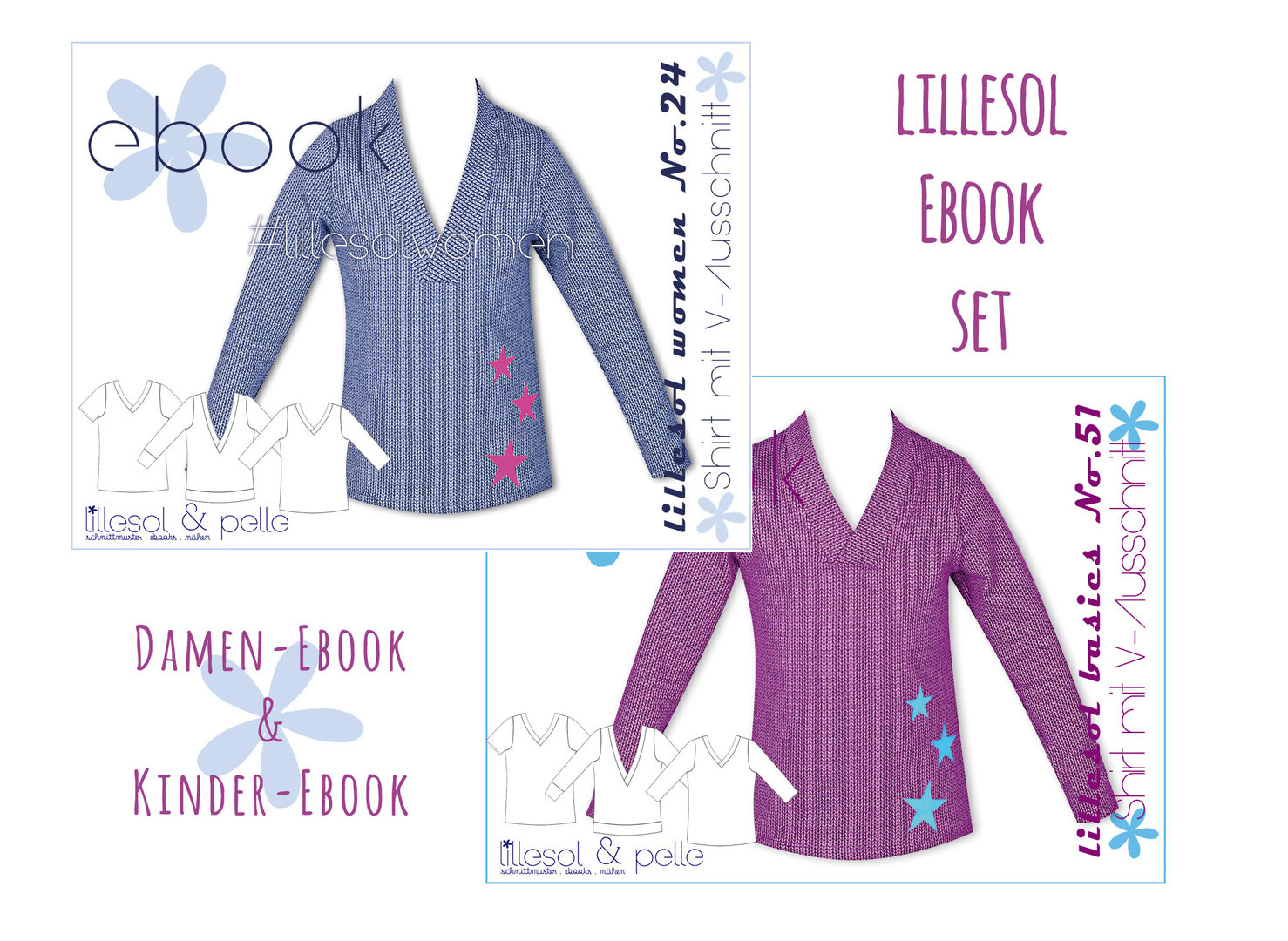 lillesol ebook set basics No.51 und women No.24  * mit Video-Nähanleitung *
