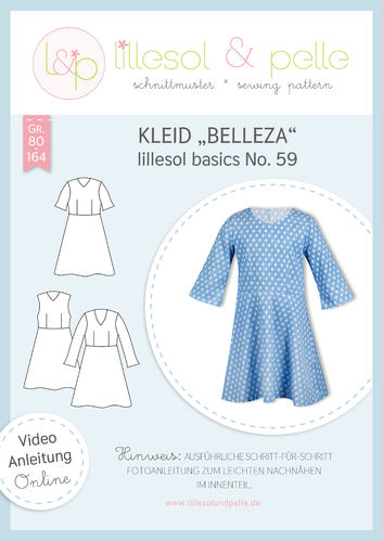 Papierschnittmuster lillesol basics No.59 Kleid Belleza * mit Video-Nähanleitung *