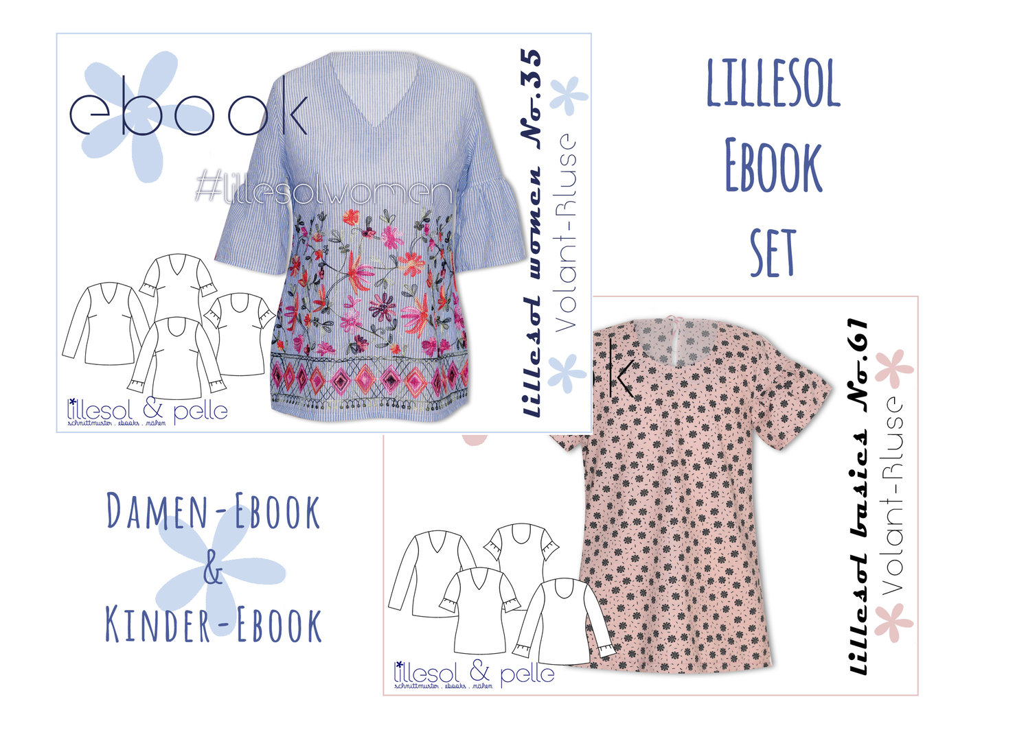 lillesol ebook set basics No.61 und women No.35 * mit Video-Nähanleitung *