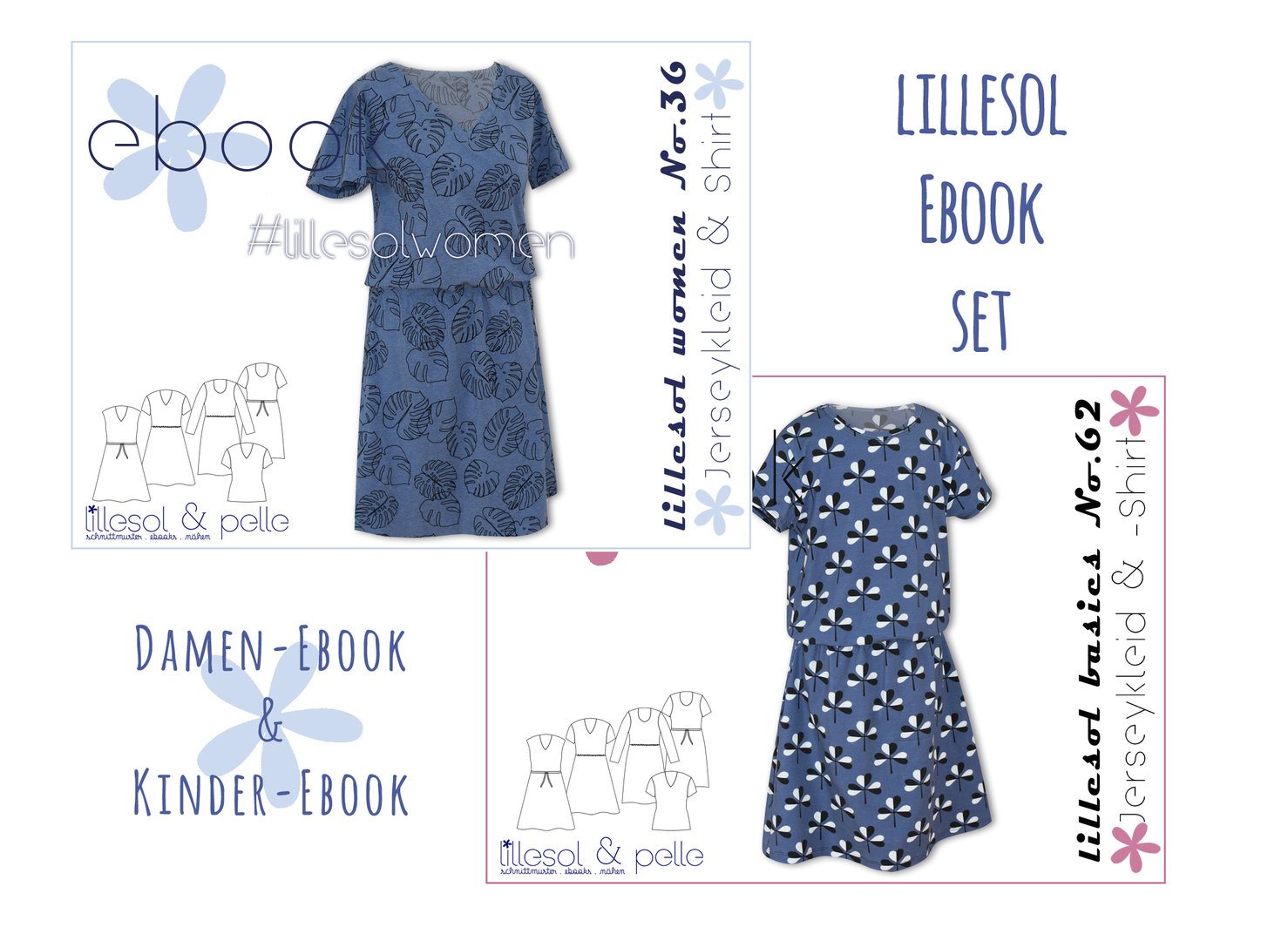 lillesol ebook set basics No.62 und women No. 36 * mit Video-Nähanleitung *