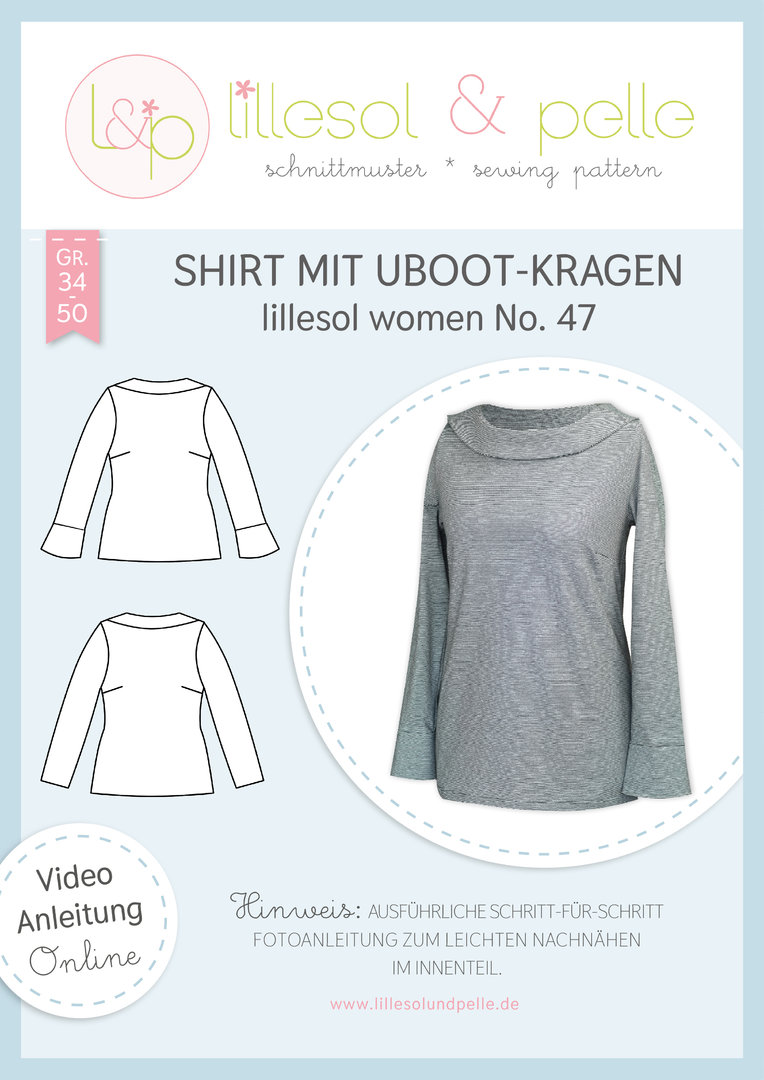 Papierschnittmuster lillesol women No.47 Shirt mit Uboot-Kragen *mit Video-Nähanleitung*