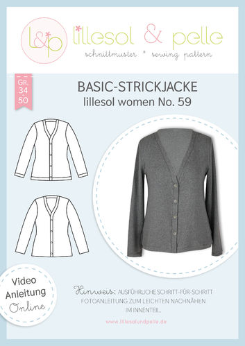 Papierschnittmuster lillesol women No.59 Basic-Strickjacke *mit Video-Nähanleitung*